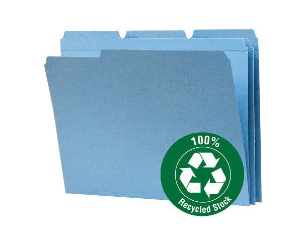 Smead 100% Recycled File Folder, Reinforced 1/3-Cut Tab, Letter Size, Blue, 100 per Box (12038)