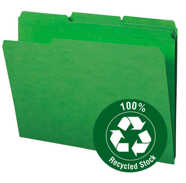 Smead 100% Recycled File Folder, Reinforced 1/3-Cut Tab, Letter Size, Green, 100 per Box (12138)