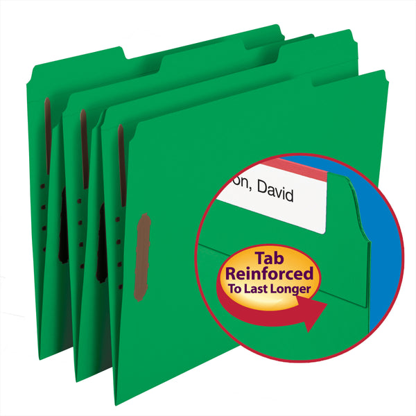 Smead 100% Recycled Fastener File Folder, 2 Fasteners, Reinforced 1/3-Cut Tab, Letter Size, Green, 50 per Box (12141)