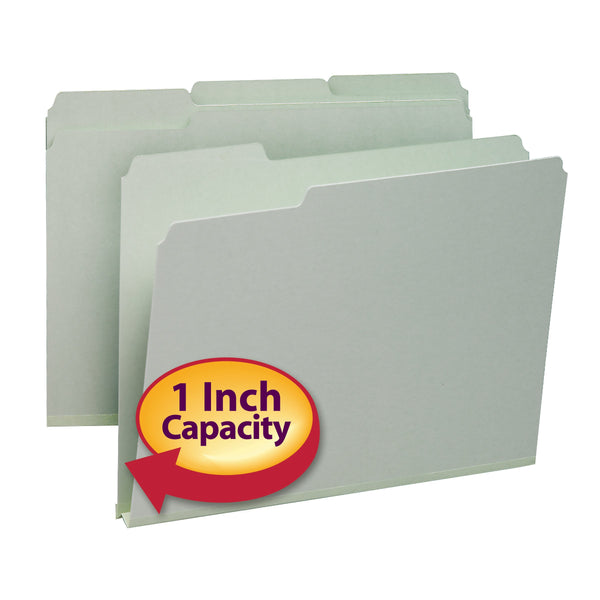 "Smead Pressboard File Folder, 1/3-Cut Tab, 1"" Expansion, Letter Size, Gray/Green, 25 per Box (13230)"