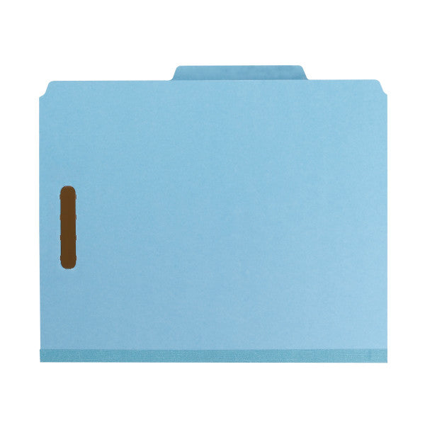 "Smead 100% Recycled Pressboard Classification File Folder, 1 Divider, 2"" Expansion, Letter Size, Blue, 10 per Box (13721)"