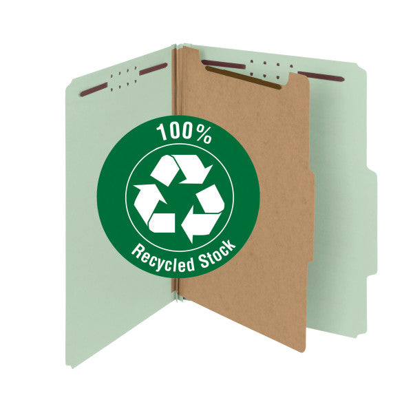 "Smead 100% Recycled Pressboard Classification File Folder, 1 Divider, 2"" Expansion, Letter Size, Gray/Green, 10 per Box (13723)"