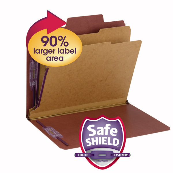 "Smead SuperTab® Pressboard Classification File Folder with SafeSHIELD®  Fasteners, 2 Dividers, 2"" Expansion, Letter Size, Red, 10 per Box (14070)"