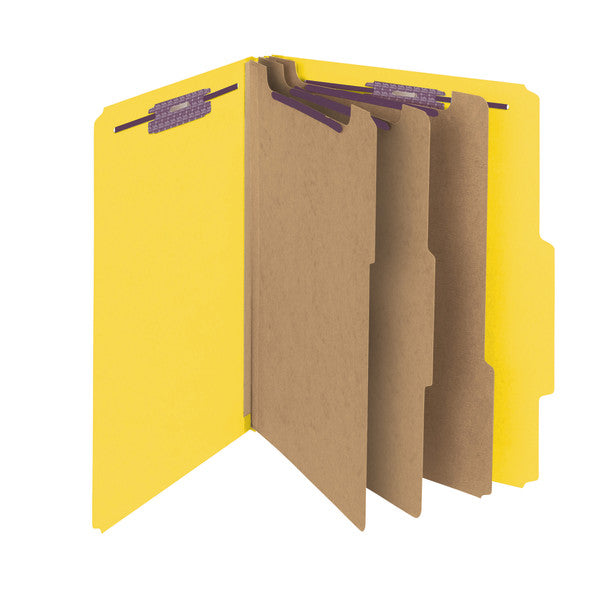 "Smead Pressboard Classification File Folder with SafeSHIELD® Fasteners, 3 Dividers, 3"" Expansion, Letter Size, Yellow, 10 per Box  (14098)"