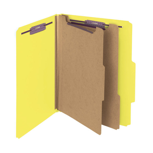 "Smead PressGuard® Classification File Folder with SafeSHIELD® Fasteners, 2 Dividers, 2"" Expansion, Letter Size, Yellow, 10 per Box (14203)"