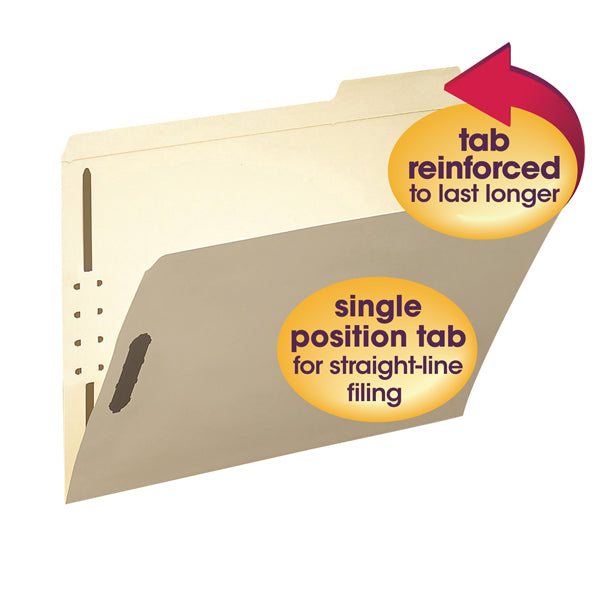 Smead Fastener File Folder, 2 Fasteners, Reinforced 1/3-Cut Tab Right Position, Letter Size, Manila, 50 per Box  (14538)