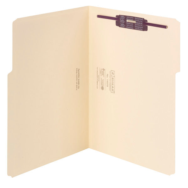 Smead Extra-Capacity Manila Fastener Folders with SafeSHIELD® Coated Fastener Technology, 1/3-Cut Tab, Letter Size, 50 per Box (14575)