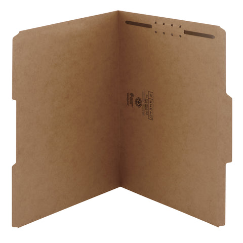 Smead Fastener File Folder, 1 Fastener, Reinforced Straight-Cut Tab, Letter Size, Kraft, 50 per Box (14834)