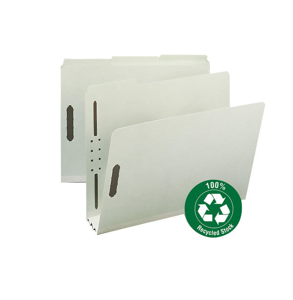 "Smead 100% Recycled Pressboard Fastener File Folder, 1/3-Cut Tab, 3"" Expansion, Letter Size, Gray/Green, 25 per Box (15005)"