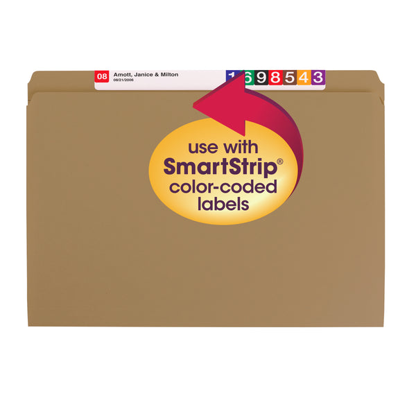 Smead File Folder, Reinforced Straight-Cut Tab, Legal Size, Kraft, 100 per Box (15710)