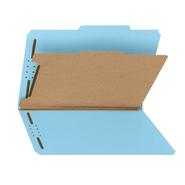 "Smead 100% Recycled Pressboard Classification File Folder, 1 Divider, 2"" Expansion, Legal Size, Blue, 10 per Box (18721)"