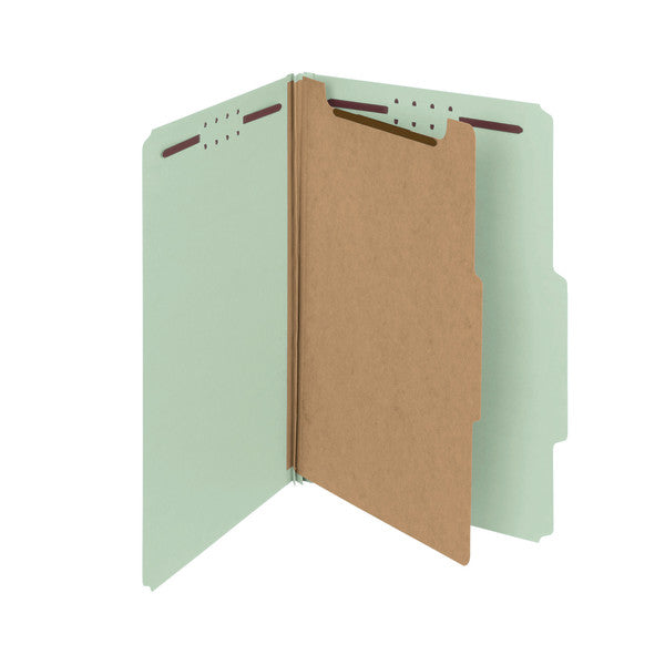 "Smead 100% Recycled Pressboard Classification File Folder, 1 Divider, 2"" Expansion, Legal Size, Gray/Green, 10 per Box (18722)"