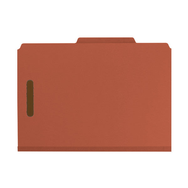 "Smead 100% Recycled Pressboard Classification File Folder, 1 Divider, 2"" Expansion, Legal Size, Red, 10 per Box (18723)"