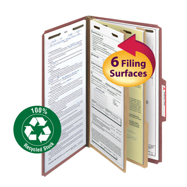"Smead 100% Recycled Pressboard Classification File Folder, 2 Dividers, 2"" Expansion, Legal Size, Red, 10 per Box (19023)"