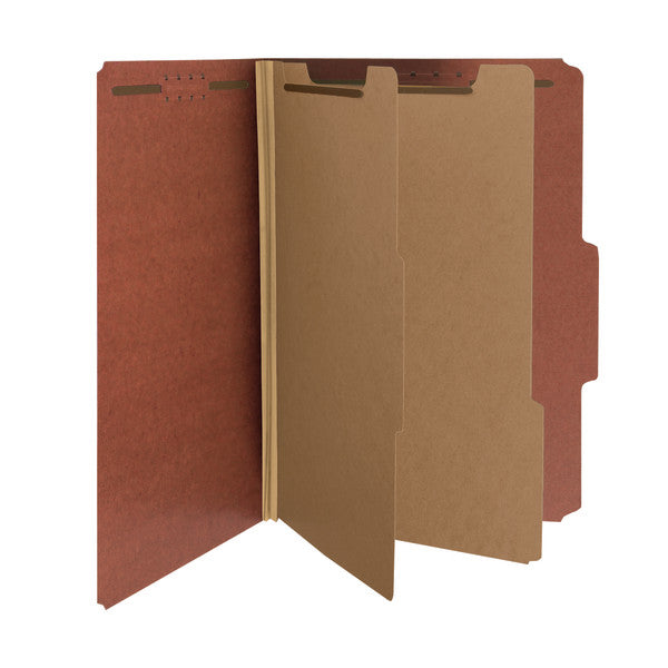 "Smead 100% Recycled Pressboard Classification Folder, 2 Divider, 2"" Expansion, Legal Size, Red, 5 per Pack (19046)"