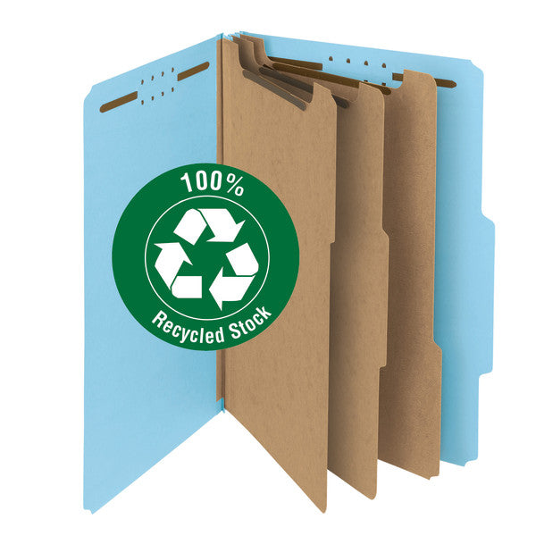"Smead 100% Recycled Pressboard Classification File Folder, 3 Dividers, 3"" Expansion, Legal Size, Blue, 10 per Box (19090)"