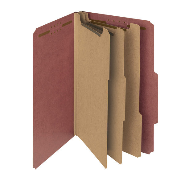 "Smead 100% Recycled Pressboard Classification File Folder, 3 Dividers, 3"" Expansion, Legal Size, Red, 10 per Box (19099)"