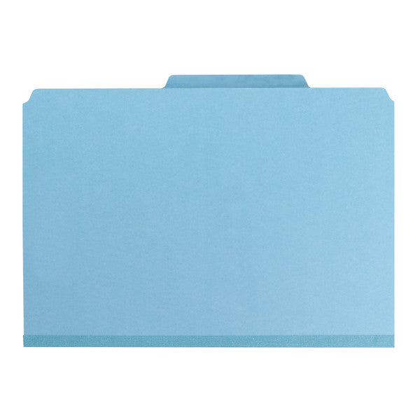 "Smead PressGuard® Classification File Folder with SafeSHIELD® Fasteners, 2 Dividers, 2"" Expansion, Legal Size, Blue, 10 per Box (19204)"