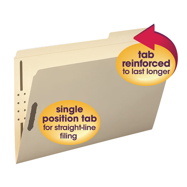 Smead Fastener File Folders, 2 Fasteners, Reinforced 1/3-Cut Tab Right Position, Legal Size, Manila, 50 per Box (19538)
