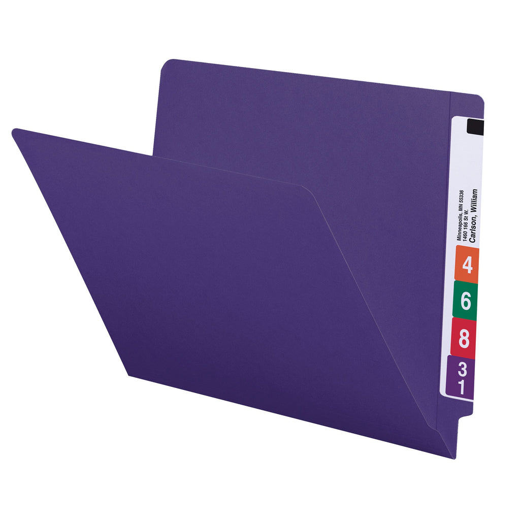 Smead Colored End Tab File Folder, Shelf-Master® Reinforced Straight-Cut Tab, Letter Size, Purple, 100 per Box (25420)