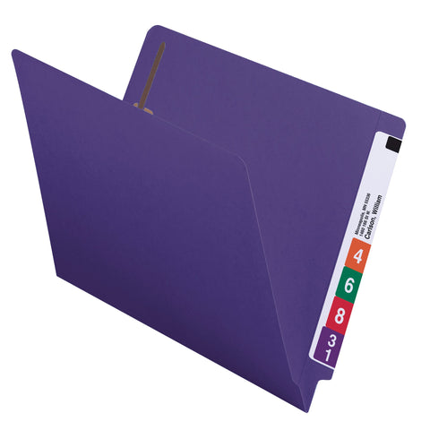 Smead Colored End Tab Fastener Folder, Shelf-Master® Reinforced Straight-Cut Tab, 2 Fasteners, Letter Size, Purple, 50 per Box (25440)