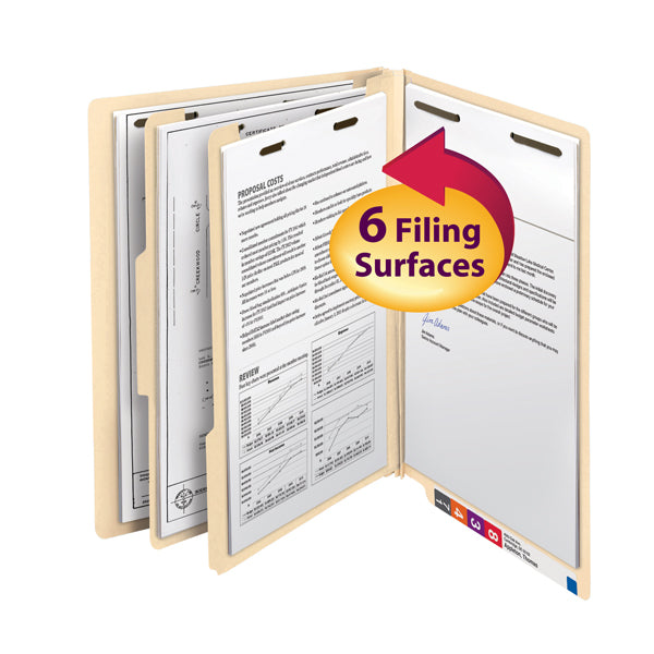"Smead End Tab Classification File Folder, 2 Divider, 2"" Expansion, Letter Size, Manila, 10 per Box (26835)"