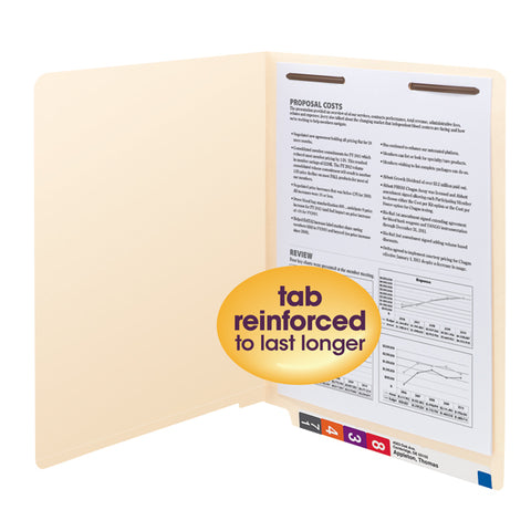 Smead End Tab Fastener File Folder, Shelf-Master® Reinforced Straight-Cut Tab, 1 Fastener, Letter Size, Manila, 50 per Box (34110)