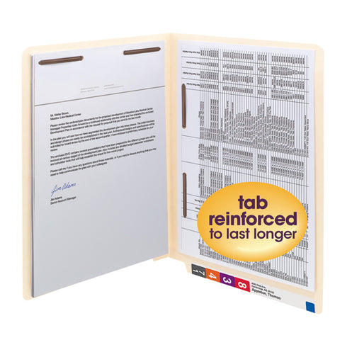 Smead End Tab Fastener File Folder, Shelf-Master® Reinforced Straight-Cut Tab, 2 Fasteners, Letter Size, Manila, 50 per Box (34120)