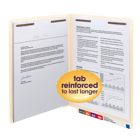 Smead WaterShed®/CutLess® End Tab Fastener Folder, Reinforced Straight-Cut Tab, Letter Size, Manila, 50 per Box (34130)