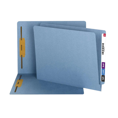 Smead 100% Recycled End Tab Fastener File Folder, Shelf-Master® Reinforced Straight-Cut Tab, 2 Fasteners, Blue, 50 per Box (34170)