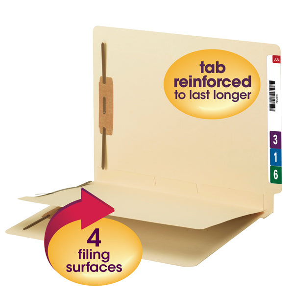 Smead End Tab Fastener File Folder with Divider, Reinforced Straight-Cut Tab, 4 Fasteners, 1 Divider, Letter Size, Manila, 50 per Box (34220)
