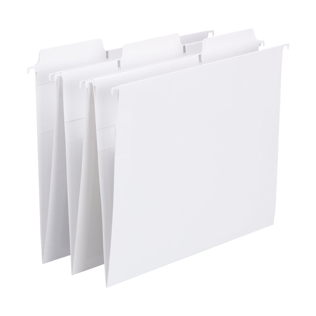 Smead FasTab® Hanging File Folder, 1/3-Cut Built-In Tab, Letter Size, White, 20 per Box (64002)
