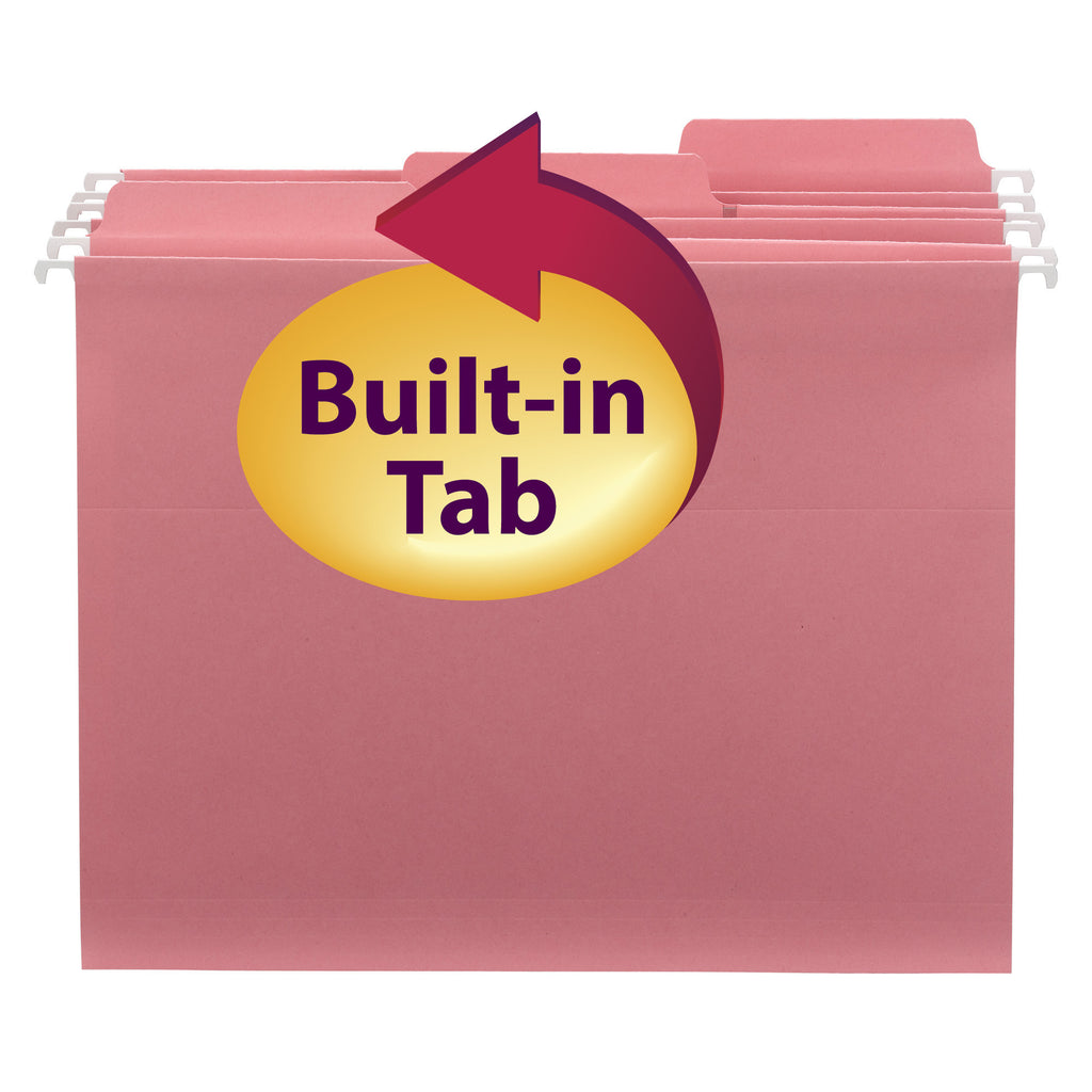 Smead FasTab® Hanging File Folder, 1/3-Cut Built-In Tab, Letter Size, Dark Pink, 9 per Pack (64014)