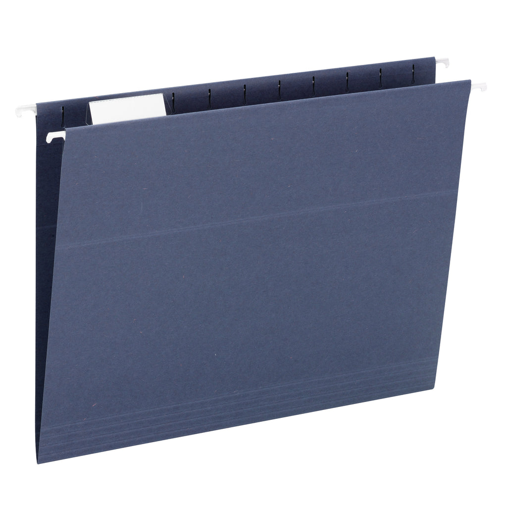 Smead Hanging File Folder, 1/5 Cut Tab, Letter Size, Dark Blue, 5 per Pack (64018)