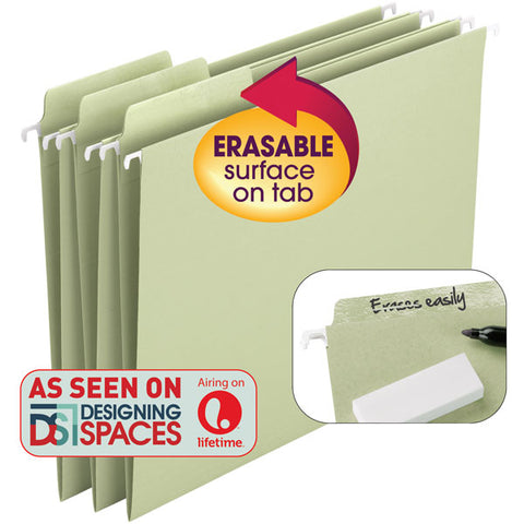Smead Erasable FasTab® Hanging File Folder, 1/3-Cut Built-In Tab, Letter Size, Moss, 20 per Box (64032)