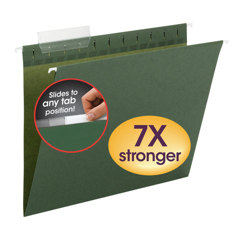 Smead TUFF® Hanging File Folder with Easy Slide™ Tab, 1/3-Cut Sliding Tab, Letter Size, Standard Green, 20 per Box  (64036)