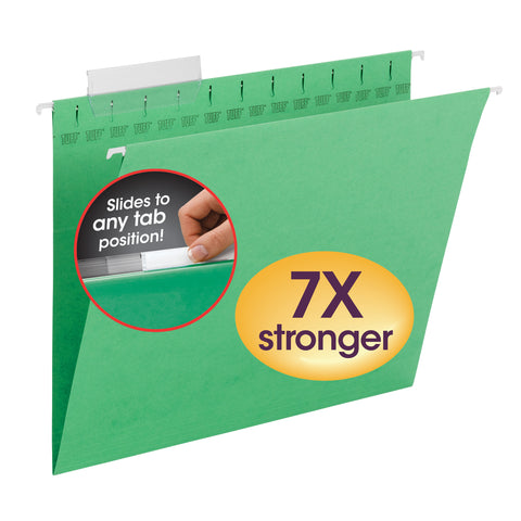 Smead TUFF® Hanging File Folder with Easy Slide™ Tab, 1/3-Cut Sliding Tab, Letter Size, Green, 18 per Box (64042)