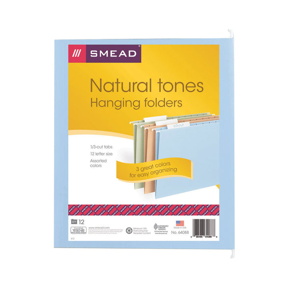 Smead Hanging File Folder, 1/3 Cut Tab, Letter Size, Assorted Colors, 12 per Pack (64088)
