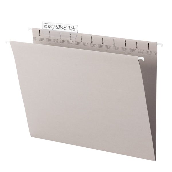 Smead TUFF® Hanging File Folder with Easy Slide™ Tab, 1/3-Cut Sliding Tab, Letter Size, Steel Gray, 18 per Box (64092)