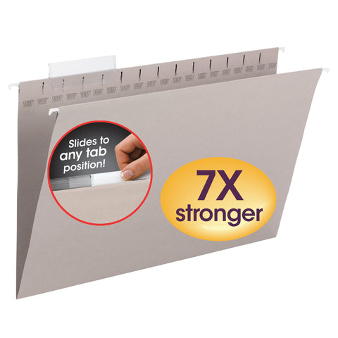 Smead TUFF® Hanging File Folder with Easy Slide™ Tab,1/3-Cut Sliding Tab,  Legal Size, Steel Gray, 18 per Box (64093)