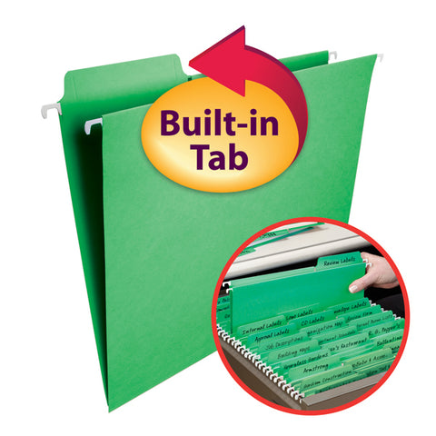 Smead FasTab® Hanging File Folder, 1/3-Cut Built-In Tab, Letter Size, Green, 20 per Box (64098)
