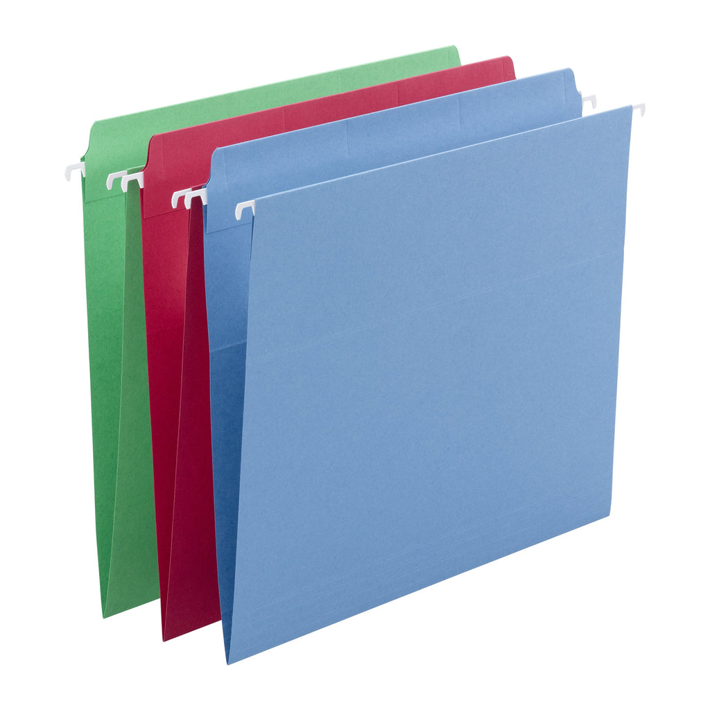 Smead FasTab® Hanging File Folder, Straight-Cut Built-In Tab, Letter Size, Assorted Colors, 18 per Box (64100)
