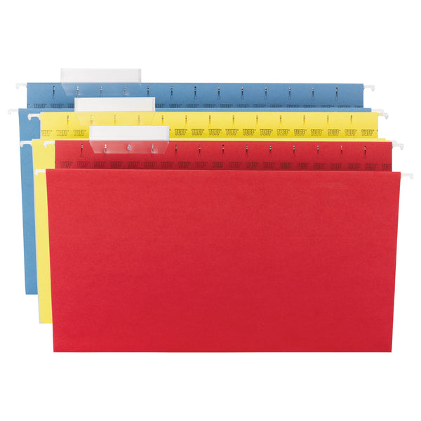 Smead TUFF® Hanging File Folder with Easy Slide™ Tab, 1/3-Cut Adjustable Plastic Tabs, Legal Size, Assorted Colors, 15 per Box (64140)
