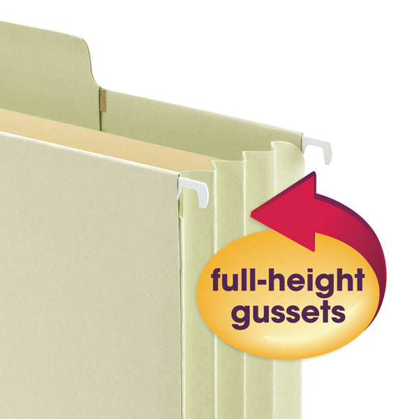 "Smead FasTab® Hanging File Pocket with Full-Height Gusset, 3-1/2"" Expansion, 1/3-Cut Built-in Tab, Letter Size, Moss, 9 per Box  (64222)"