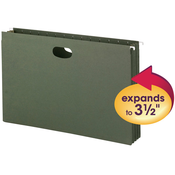 Smead Hanging File Pockets, 3-1/2 Inch Expansion,  Legal Size, Standard Green, 10 Per Box (64320)