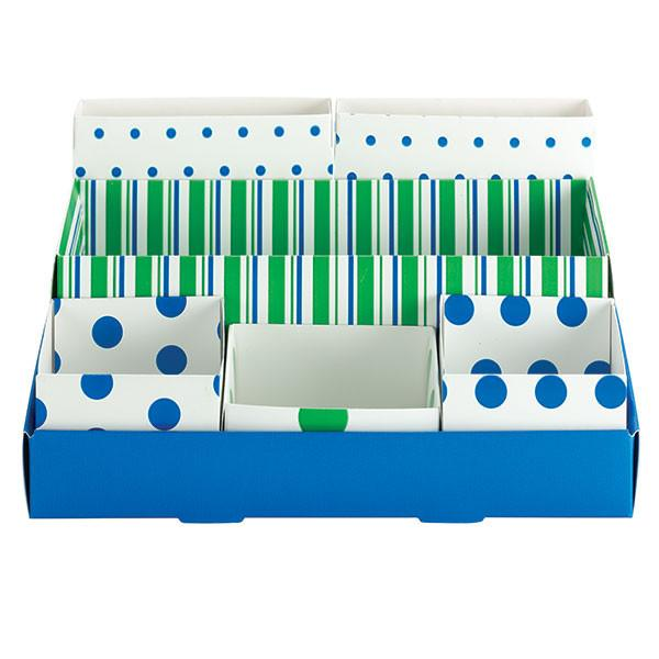 Smead Desktop Organizer, 7 Nesting Boxes, Blue/Green with Stripes/Polka-Dots (70250)