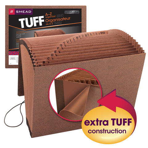 Smead TUFF® Expanding File, Alphabetic (A-Z), 21 Pockets, Flap and Elastic Cord Closure, Letter Size, Redrope-Printed Stock (70318)