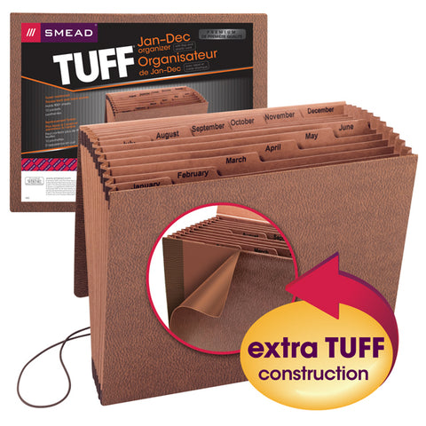 Smead TUFF® Expanding File, Monthly (Jan.-Dec.), 12 Pockets, Flap and Elastic Cord Closure, Letter Size, Redrope-Printed Stock (70388)