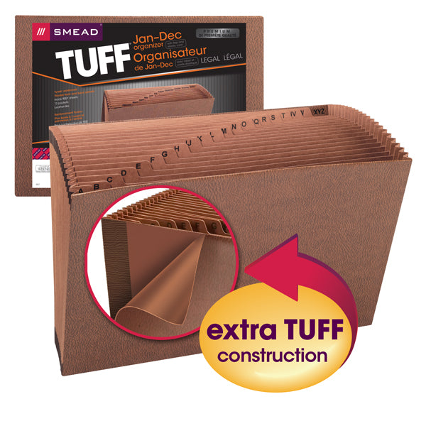 Smead TUFF® Expanding File, Monthly (Jan.-Dec.), 12 Pockets, Flap and Elastic Cord Closure, Legal Size, Redrope-Printed Stock (70390)