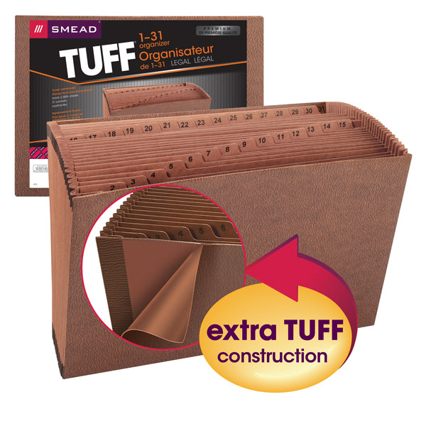 Smead TUFF® Expanding File, Daily (1-31), 31 Pockets, Legal Size, Redrope-Printed Stock (70469)